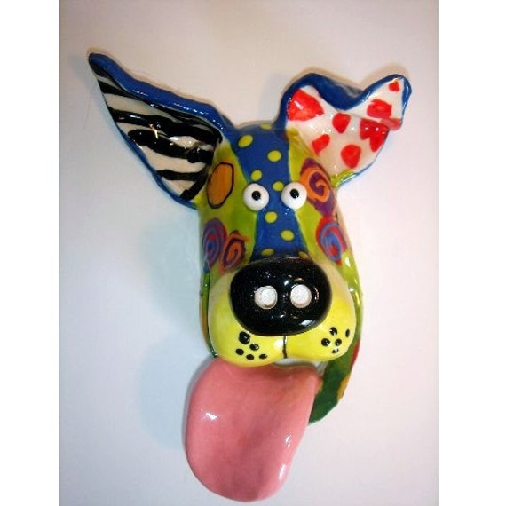 Dog Mask Ceramic Wall Hanging, One-of-a-Kind, Medium, Handmade by Dottie Dracos, 7.5x6