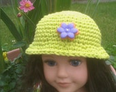 Lime green crochet doll cloche fits American girl doll