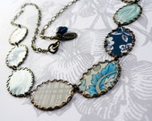 cool blues - vintage tin and brass necklace
