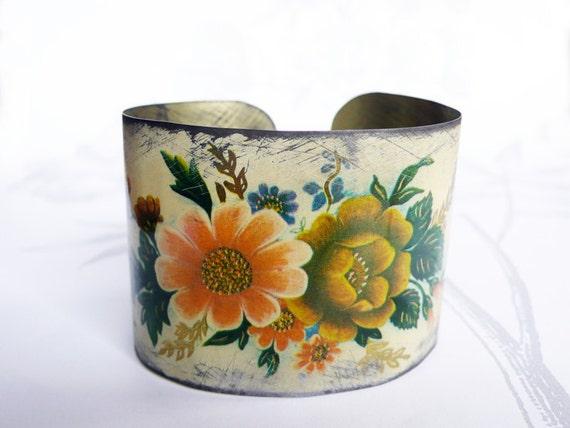 fauve bouquet - vintage tin bracelet