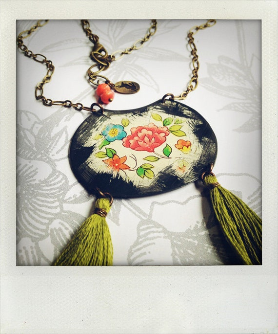 gypsy - vintage tin and brass necklace