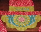Reversible Apron and Personalized Chef's Hat Set - Fuchsia, Turquoise and Yellow