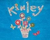 Personalized Large Turquoise Velour Beach Towel with Peace Sign Flower Bouquet and butterflies