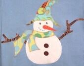 Sam the Snowman on Light Blue Top, Snowman Top, Snowman Gift, Holiday Party Top, Kids Snowman Shirt, Adult Snowman Shirt, Winter Party Top