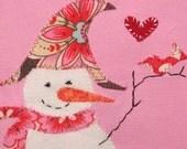Winter Love, Snowgirl and Bird Top, Snowgirl Top, Winter Snowman Shirt, Girls Snowman Top, Holiday Top, Snowman Top, Snowman Party Top