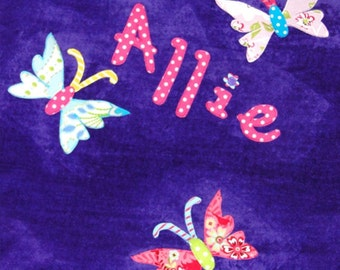 Personalized Large Purple Velour Beach Towel with 3 Large Butterflies, Pool Towel, Beach Towel, Camp Towel, Swim Team, Bridal Party Gifts