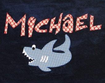 Personalized Large Navy Blue Velour Beach Towel with Shark, Pool Towel, Kids Bath Towel, Camp Towel, Baby Towel, Swim Towel, Beach Gift