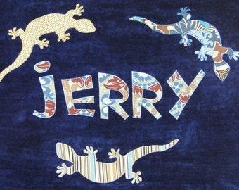 Personalized Large Navy Blue Velour Beach Towel with Lizards, Salamanders or Geckos, Kids Bath Towel, Pool Towel, Camp Towel, Swim Towel
