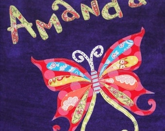Personalized Large Purple Velour Beach Towel with Beautiful Butterfly, Pool Towel, Kids Bath Towel, Camp Towel, Bridal Party Gift, Baby Gift