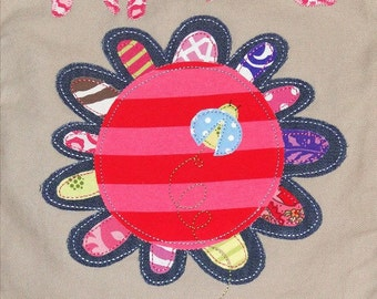 Personalized Canvas Field Bag in Color Putty with Large Funky Flower and Ladybug, School Bag, Camp Bag, Baby Bag, Sports Bag,Kids Travel Bag