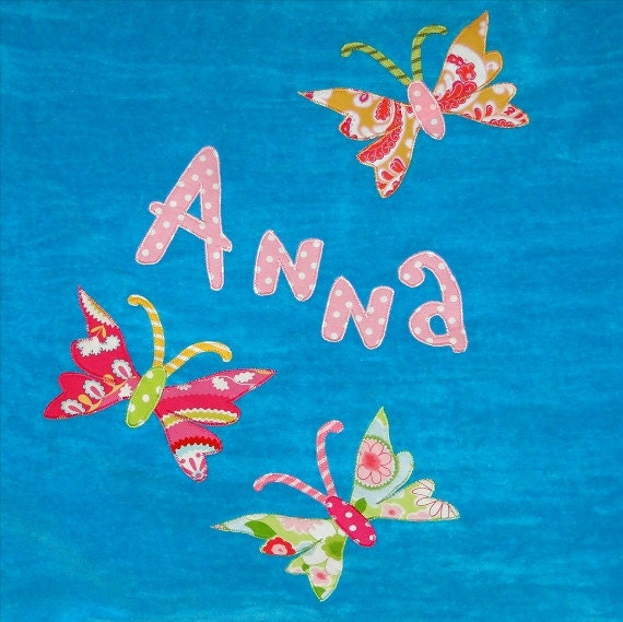 Personalized Large Turquoise Velour Beach Towel with Butterflies,Pool Towel, Beach Towel,Camp Towel,Swim Team,Bath Towel, Bridal Party Gifts