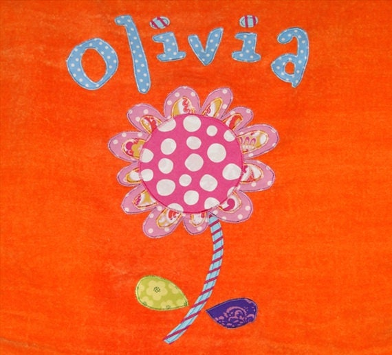 Personalized Large Orange Velour Beach Towel with Flower, Bath Towel, Pool Towel, Camp Towel, Bridal Party Gift, Swim Towel, School Towel