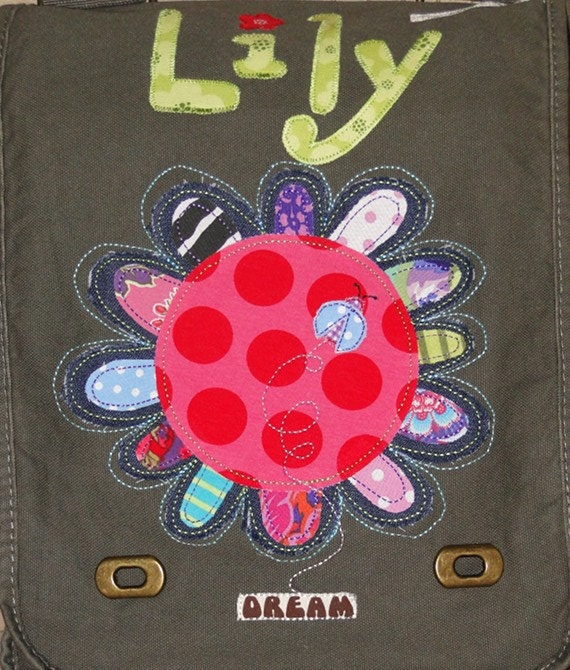 Personalized Canvas Field Bag in Color Khaki Green - with a Funky Flower with Ladybug and Dream, School Bag, Camp Bag, Sports Bag, Dance Bag