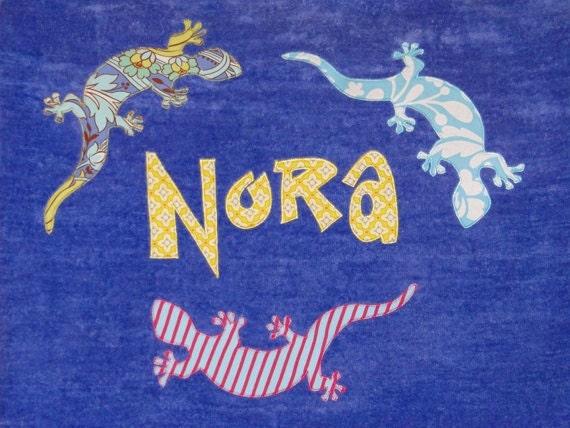 Personalized Large Carribean Blue Velour Beach Towel with 3 Geckos/Salamanders/Lizards, Bath Towel, Beach Towel, Pool Towel, Baby Towel