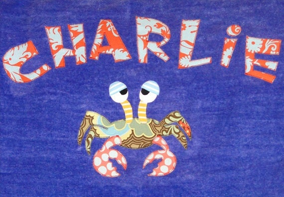 Personalized Large Carribean Blue Velour Beach Towel with Crab, Kids Bath Towel, Bath Towel, Camp Towel, Bridal Party Gift, Pool Towel