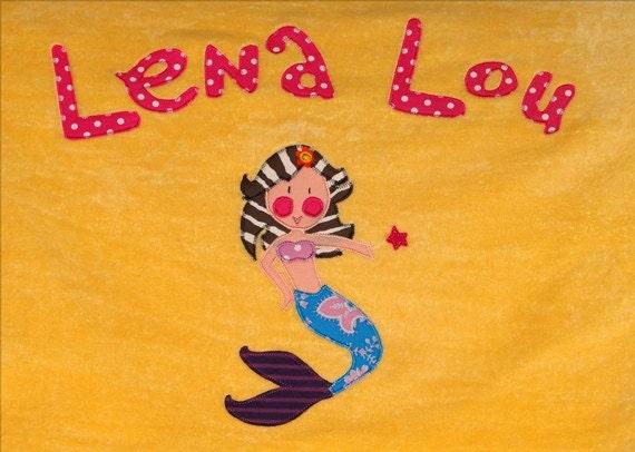 Personalized Large Sunshine Yellow Velour Beach Towel with Mermaid, Kids Bath Towel, Pool Towel, College Towel, Baby Towel, Camp Towel