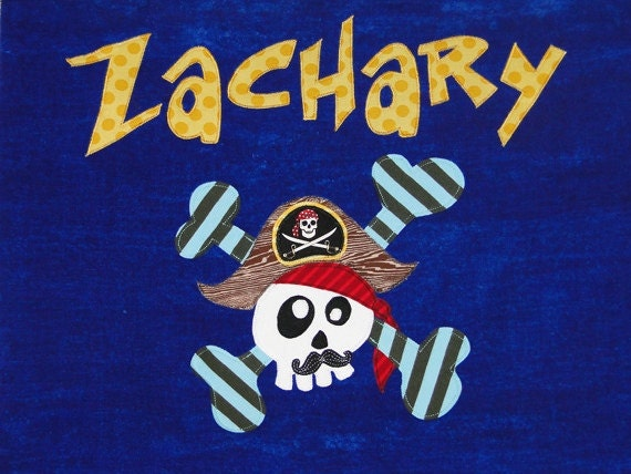 Personalized Large Royal Blue Velour Beach Towel with Funny Pirate with Mustache and Crossbones, Pool Towel, Kids Bath Towel, Camp Towel