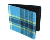 Jetsam Wallet - Recycled Plaid Shirt - Bright Blue Flannel