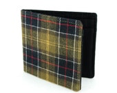 Jetsam Wallet - Recycled Plaid Shirt - Olive Green Navy Flannel