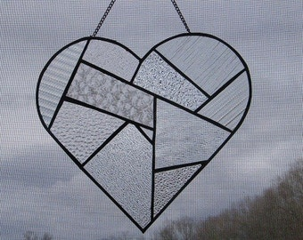 Clear Textured Glass Patchwork Heart