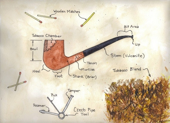 tobacco pipe diagram watercolor painting by monkeypox on etsytobacco pipe diagram watercolor painting