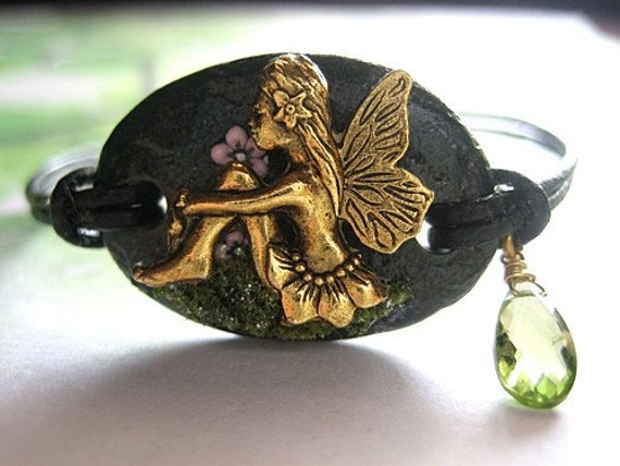 Peridot Fairy Bracelet Fae Faerie Fantasy Stone Black Fairytale Jewelry Leather Focal Flowers Unique One of a Kind Chic Accessory