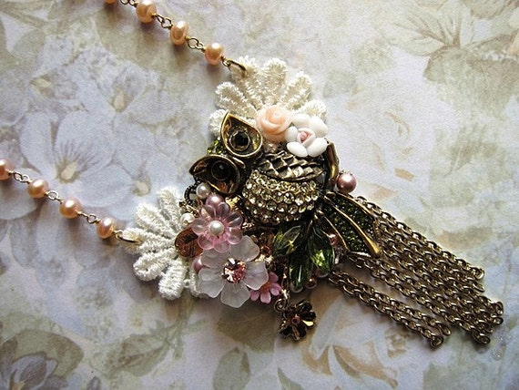 Great Horned Owl Surrounded With Beauty Necklace Vintage Jewelry Gold Statement Lacey Rhinestones Hooter Wise Bird Whimsical Flowers Nature Beauty Stylish Elegant Feminine Woman Girly Wings Feathered Forest Watching Nocturnal Night Branches Victorian