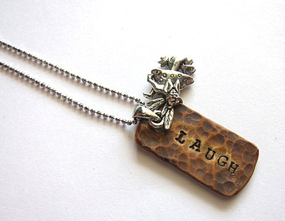 Personalized Necklace LAUGH Fairy Fae Faerie Fay Hand Stamp Fantasy Simple