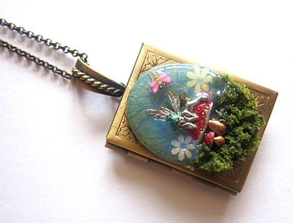 The Book Of Mushroom Fairy Necklace Locket Fantasy Realm Fae Faerie Fay Fairy Legend Pendant Statement