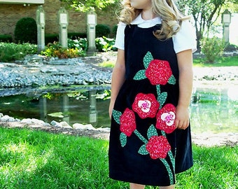 Hand Appliqued Corduroy Jumper and Classic Blouse Custom sizes 3-8 - Rambling Rose
