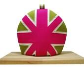 Hot Pink and Green Union Jack Tea cozy/cosie Appliqued felt