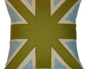 green and light blue UNION JACK CUSHION