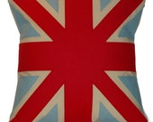 red and light blue UNION JACK CUSHION