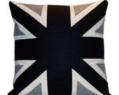 black and grey UNION JACK CUSHION\/PILLOW