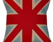 red and light blue UNION JACK CUSHION\/PILLOW