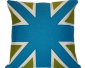 turquoise and green UNION JACK CUSHION\/PILLOW