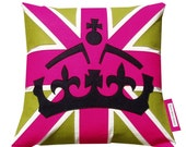 SALE ITEM ....... Hot pink, green & black  Jack and Crown cushion/pillow   Appliqued felt