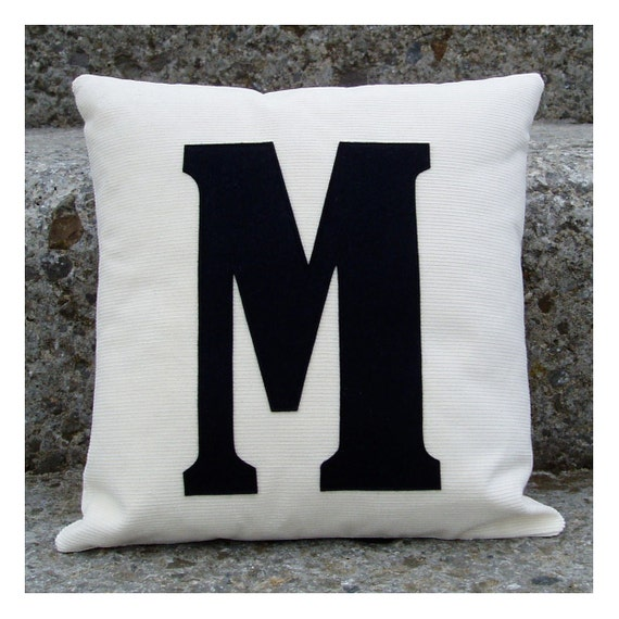 Letter 39 m 39 mini letter cushion pillow by karenhiltondesigns for Letter m cushion