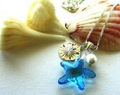 Crystal Starfish, Sterling Sand Dollar and Pearl Bridesmaids Necklace