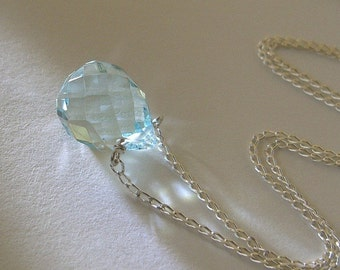 Blue Quartz and Sterling Silver Necklace - First Rain Drop