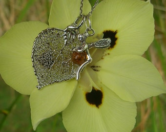 Small REAL Aspen Leaf and Fairy with Amber Berry Necklace