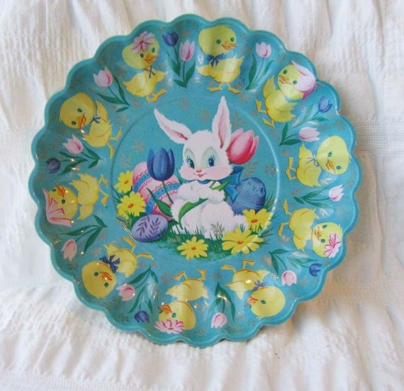 vintage easter bunny plastic bowl in blue with ducklings
