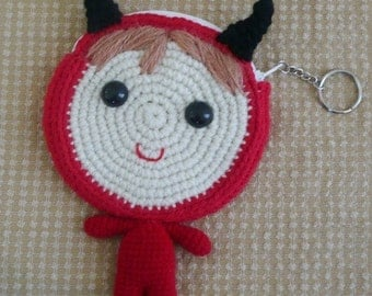 Amigurumi Baby in Devil Suit Coin Purse.