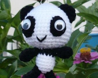 Amigurumi Little Panda Keychain doll.