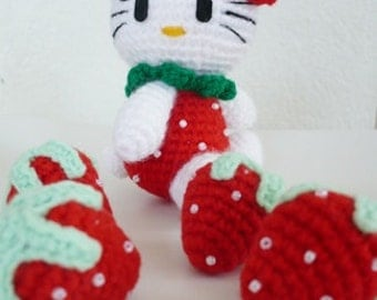 Set of 4  hand crocheted  strawberries.
