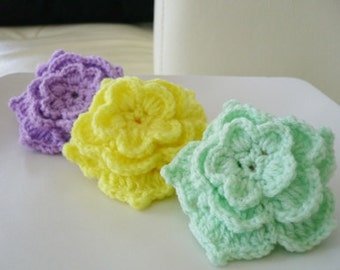 Set of 3 Multi-color  crochet flowers.
