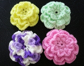 Set of 4 Multi-color  crochet flowers.