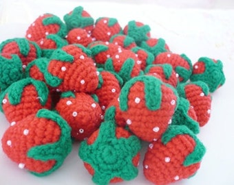 Set of 10 hand crocheted strawberries.