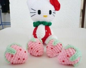 Set of 10 hand crocheted strawberries.