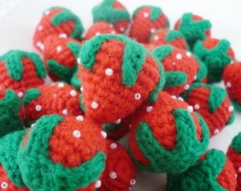 Set of 100 hand crocheted strawberries Free Shipping.